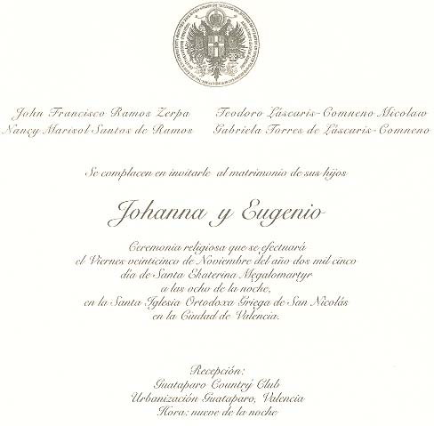 The Marriage of Prince Eugene III to Joanna Ramos Zerpa.