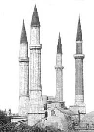 Bundled minarets removed from Hagia Sophia in Constantinople, ready for return to their owners for placement in a non-Christian location.